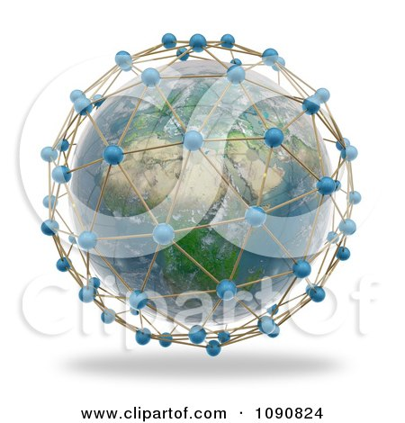 Clipart 3d African Globe Surrounded By World Network Connections - Royalty Free CGI Illustration by Mopic