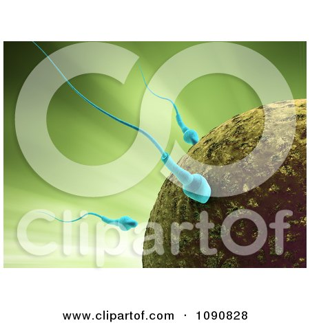 Clipart 3d Blue Sperm Cells Attacking An Egg Over Green - Royalty Free CGI Illustration by Mopic