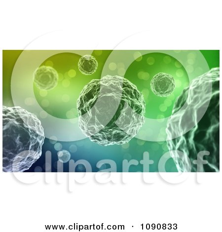 Clipart 3d Single Cell Bacteria On A Gradient Background - Royalty Free CGI Illustration by Mopic