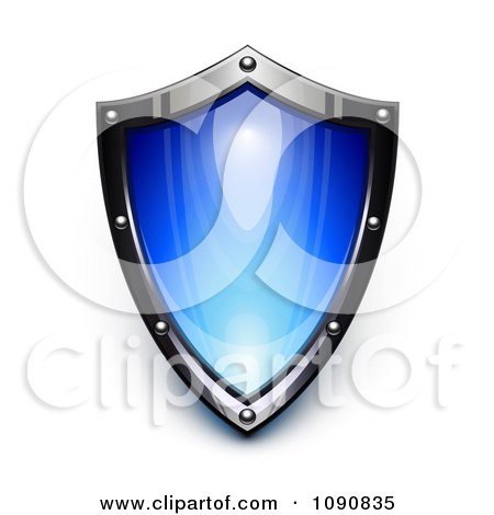 Clipart 3d Steel And Blue Security Shield - Royalty Free Vector Illustration by Oligo