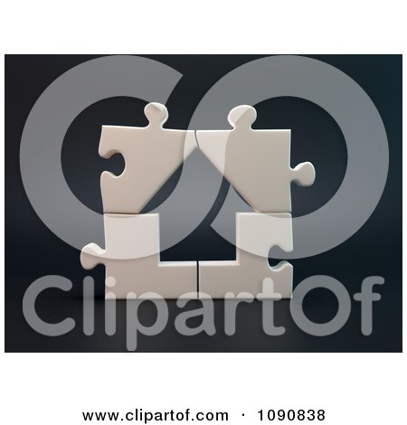 Clipart 3d Complete Assembled Puzzle House - Royalty Free CGI Illustration by Mopic