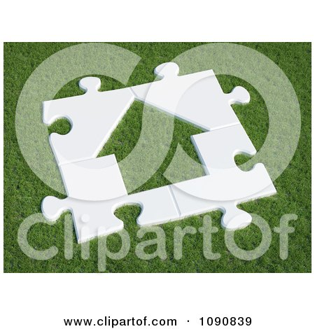 Clipart 3d White House Puzzle On Green Grass - Royalty Free CGI Illustration by Mopic