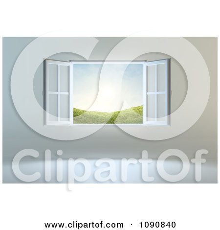 Clipart Open Window With A View Of Hills And Sunshine - Royalty Free CGI Illustration by Mopic
