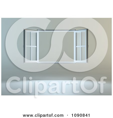 Clipart 3d Open Window On A Gray Wall - Royalty Free CGI Illustration by Mopic