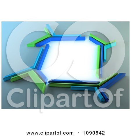 Clipart 3d Blue And Green Futuristic Technology Frame With Bright Light - Royalty Free CGI Illustration by Mopic