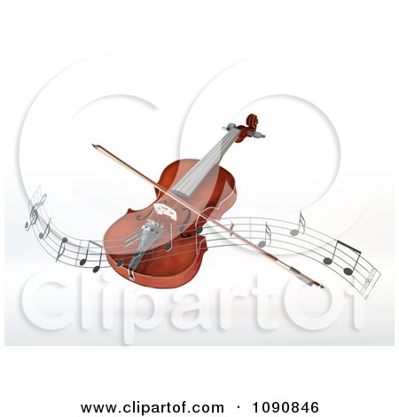 Clipart 3d Floating Violin And Bow With A Wave Of Music Notes - Royalty Free CGI Illustration by Mopic
