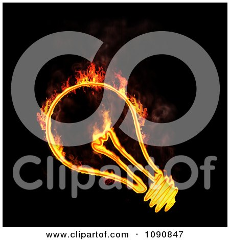 Clipart Fiery Light Bulb On Black - Royalty Free CGI Illustration by Mopic