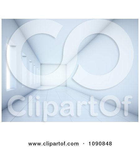 Clipart 3d Empty White Hallway With Windows And Wall Space - Royalty Free CGI Illustration by Mopic