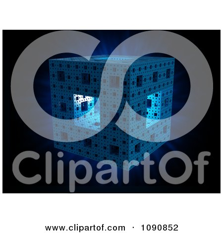 Clipart 3d Blue Shining Sierpinski Cube On Black - Royalty Free CGI Illustration by Mopic