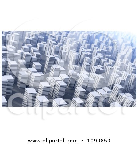 Clipart 3d Cityscape Of White Highrises - Royalty Free CGI Illustration by Mopic