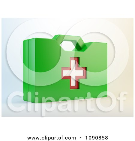 Clipart 3d Green First Aid Kit - Royalty Free CGI Illustration by Mopic