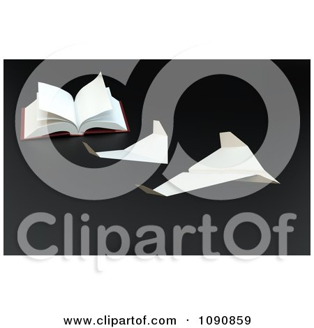 Clipart 3d Pages Of A Book Taking Off As Paper Planes - Royalty Free CGI Illustration by Mopic