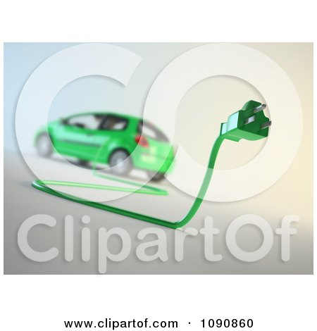 Clipart 3d Green Electric Car And Plug - Royalty Free CGI Illustration by Mopic