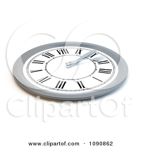 Clipart 3d Silver And White Clock Meal Time Plate - Royalty Free CGI Illustration by Mopic