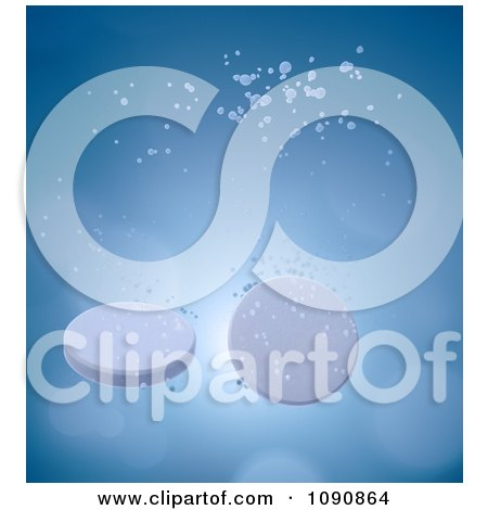Clipart 3d Fizzing Tablets Sinking In Water - Royalty Free CGI Illustration by Mopic