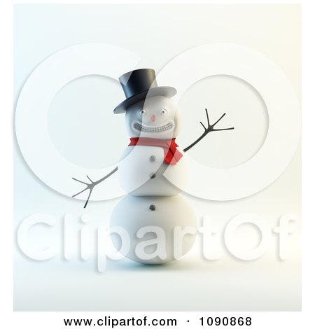 Clipart 3d Waving Snowman With A Big Smile Top Hat And Scarf - Royalty Free CGI Illustration by Mopic