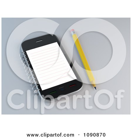 Clipart 3d Pencil By A Smart Phone With A Notepad - Royalty Free CGI Illustration by Mopic
