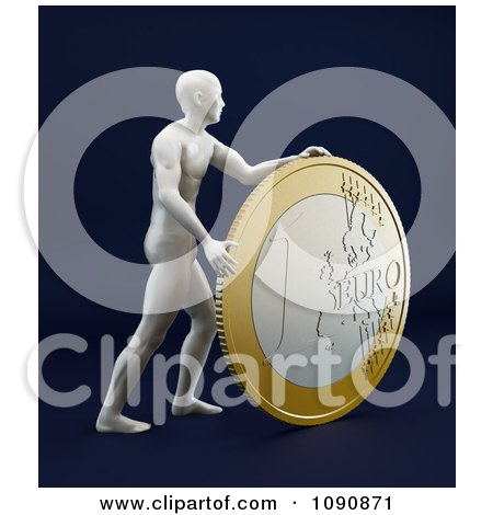 Clipart 3d Statue Man Rolling A Euro Coin On Black - Royalty Free CGI Illustration by Mopic