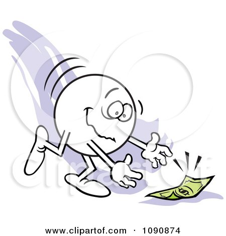 Clipart Moodie Character Picking Up Money From The Ground - Royalty Free Vector Illustration by Johnny Sajem