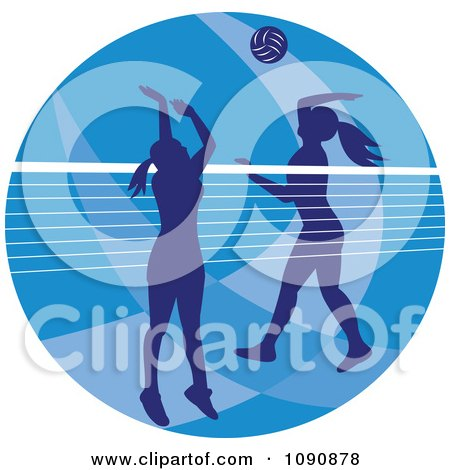 Clipart Silhouetted Female Volleyball Players And A Net Over A Blue Circle - Royalty Free Vector Illustration by patrimonio