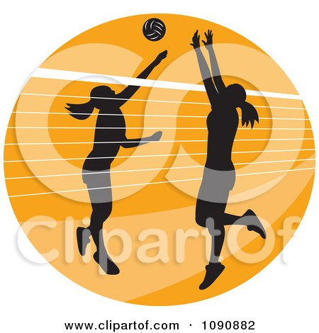 Clipart Silhouetted Female Volleyball Players And A Net Over An Orange Circle - Royalty Free Vector Illustration by patrimonio
