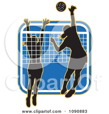 Clipart Silhouetted Female Volleyball Players And A Net Over A Blue Square - Royalty Free Vector Illustration by patrimonio