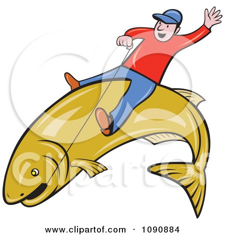 Clipart Man Riding A Large Fish And Holding On With Wire - Royalty Free Vector Illustration by patrimonio