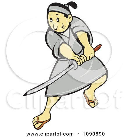 Clipart Samurai Warrior Using A Sword - Royalty Free Vector Illustration by patrimonio