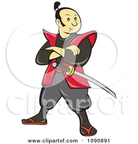 Clipart Samurai Warrior Standing And Armed With A Sword - Royalty Free Vector Illustration by patrimonio