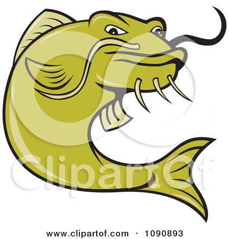 Clipart Angry Green Catfish - Royalty Free Vector Illustration by patrimonio