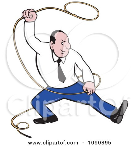 Clipart Businessman Swinging A Lasso - Royalty Free Vector Illustration by patrimonio