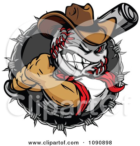 Clipart Tough Baseball Head Cowboy With A Bat In A Barbed Wire Circle - Royalty Free Vector Illustration by Chromaco