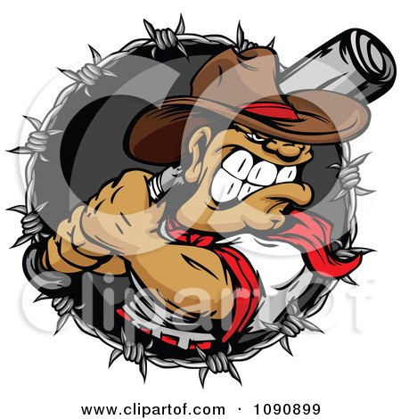 Clipart Tough Baseball Player Cowboy With A Bat In A Barbed Wire Circle - Royalty Free Vector Illustration by Chromaco