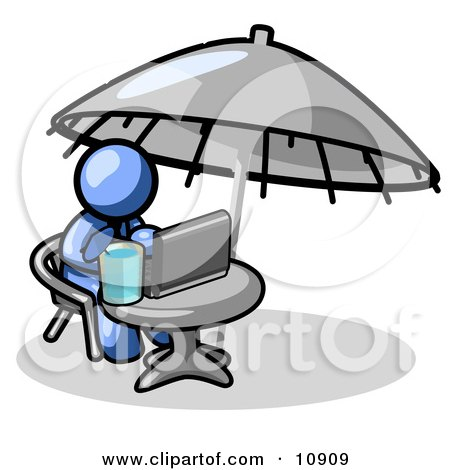 Traveling Blue Business Man Sitting Under an Umbrella at a Table Using a Laptop Computer Clipart Illustration by Leo Blanchette