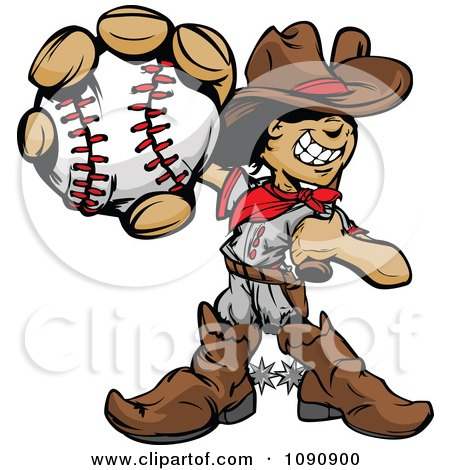 Clipart Baseball Cowboy Kid Holding Out A Ball - Royalty Free Vector Illustration by Chromaco