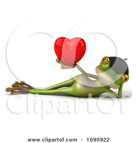 Clipart 3d Romantic French Springer Frog Holding A Heart 4 - Royalty Free CGI Illustration by Julos