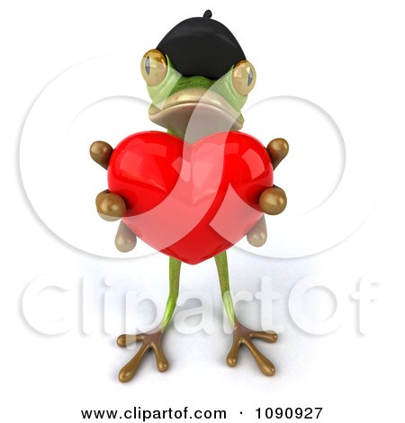 Clipart 3d Romantic French Springer Frog Holding A Heart 1 - Royalty Free CGI Illustration by Julos