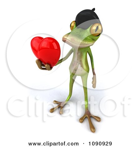 Clipart 3d Romantic French Springer Frog Holding A Heart 3 - Royalty Free CGI Illustration by Julos
