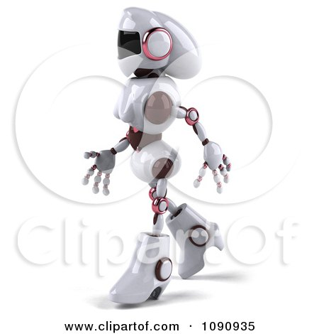 Clipart 3d Female Techno Robot Walking 3 - Royalty Free CGI Illustration by Julos
