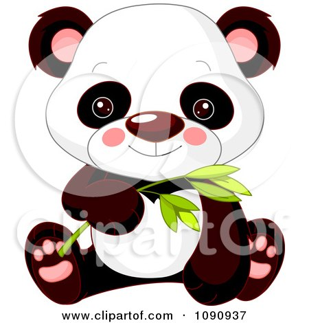 Clipart Cute Baby Zoo Panda And Holding Bamboo - Royalty Free Vector Illustration by Pushkin