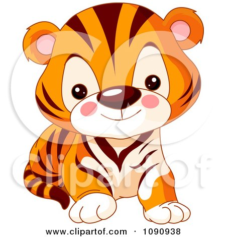 Clipart Cute Baby Zoo Tiger Cub - Royalty Free Vector Illustration by Pushkin
