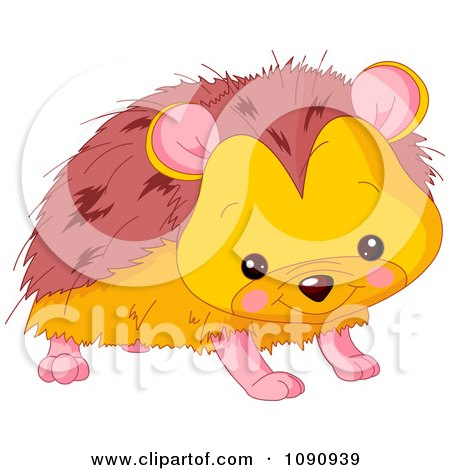 Clipart Cute Baby Zoo Hedgehog - Royalty Free Vector Illustration by Pushkin