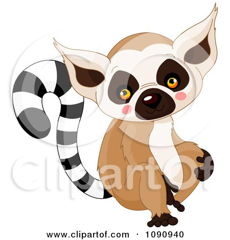 Clipart Cute Baby Zoo Lemur - Royalty Free Vector Illustration by Pushkin