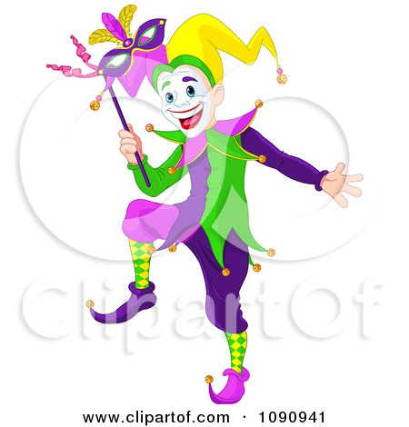 Clipart Happy Mardi Gras Jester Holding A Mask - Royalty Free Vector Illustration by Pushkin