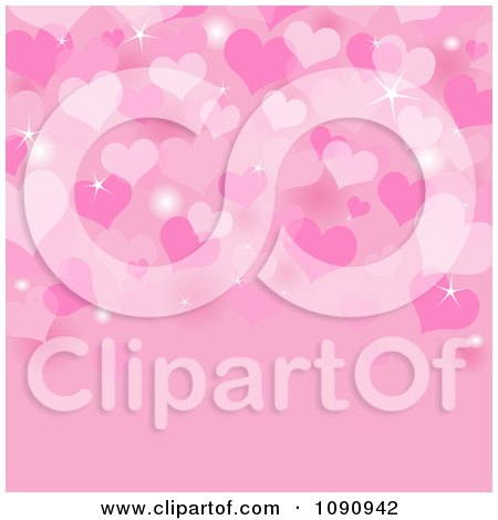 Clipart Pink Sparkly Valentine Heart Background With Copyspace - Royalty Free Vector Illustration by Pushkin