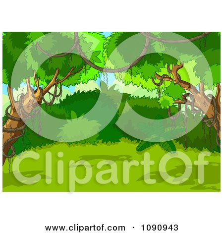 Clipart Green Lush Jungle Background With Vines And Trees