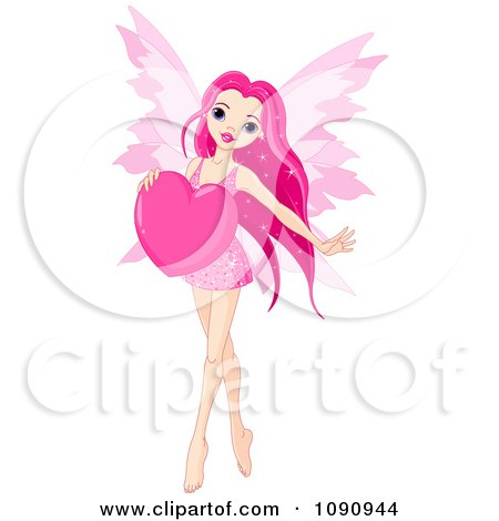 Clipart Beautiful Pink Fairy Holding A Valentine Heart - Royalty Free Vector Illustration by Pushkin