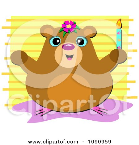 Clipart Happy Hamster Holding A Candle Over Yellow Stripes - Royalty Free Vector Illustration by bpearth