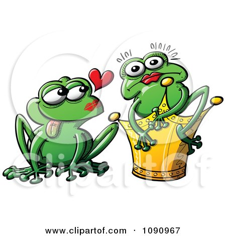 Clipart Princess Turned Into A Frog By Her Mate - Royalty Free Vector Illustration by Zooco