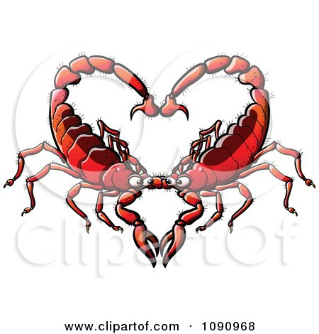 Clipart Red Scorpion Couple Forming A Heart - Royalty Free Vector Illustration by Zooco